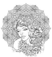 beautiful wavy curly hair and pouty lips hand drawn amazing fl bohemia coloring book page for