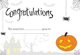 Costume Contest Certificate Template Printable Printable Halloween Certificate Great For Teachers