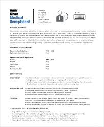 Medical Receptionist Resume Photographic Gallery Sample Receptionist