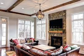 ideas great room chandelier for family room chandelier traditional family room with rock fireplace don 65