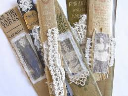 pretty lace bookmarks that are created from old book spines diy project