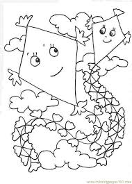 Small Picture Cartoon Boy Flying Kite Coloring Page Outline Bear Id 40104