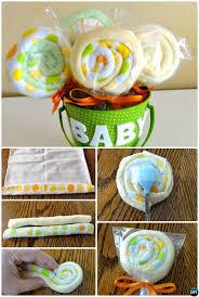 diy baby washcloth lollipops gift bucket handmade baby shower gift ideas instructions