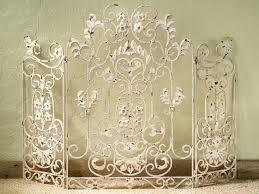 antique white iron fireplace screen 34 h no mesh