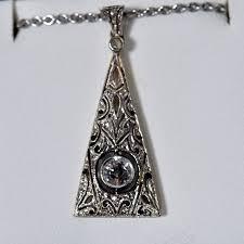 14k white gold diamond filigree pendant necklace available at john wallick jewelers in sun city