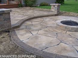 Fine Stamped Concrete Patio With Fire Pit Overlay Findlay Oh To Beautiful Design