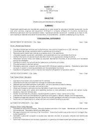 Fair Resume For Warehouse Job Example On Warehouse Job Description