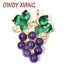 <b>CINDY XIANG New</b> Arrival Purple <b>Color</b> Crystal Grapes Brooches ...