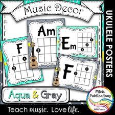 Music Decor Aqua And Gray Ukulele Chord Chart Posters