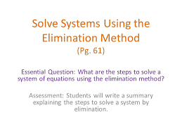 2 solve systems using the elimination method