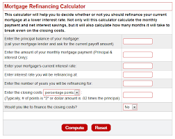 refinance calculations mortgage refinance analysis calculator amerimutual brokers