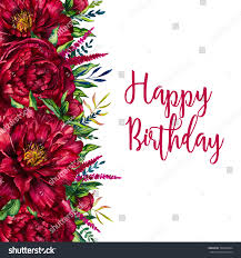 Birthday Flowers Background Design Watercolor Floral Border Flower Peony Flowers Stock
