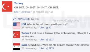 Someone Made A Facebook Thread Between Countries After Turkey Shot ... via Relatably.com