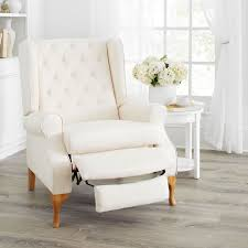 queen anne style tufted wingback recliner
