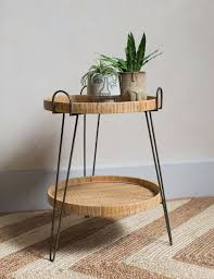Carrie Two-Tier Rattan Side Table | Side table decor living room, Side  table decor, Side tables bedroom