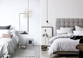 hanging pendant lights over bedside table bare bulb via design blog