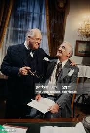Wensley Pithey as Winston Churchill, Steven Roberts as Franklin... News  Photo - Getty Images