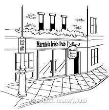 手描き風モノクロ街並み料理のイラスト制作 イラスト工房