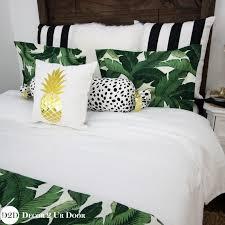 palm leaf black white stripe apartment bedding set palm frond bedding