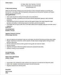 Aircraft Mechanic Resume Examples Sample Mechanic Resume 9 Examples In Word Pdf