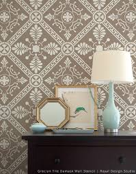 grecian tile damask wall stencil royal design studio