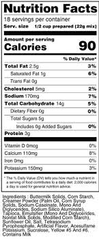 calorie control tapioca pudding mix nutrition facts