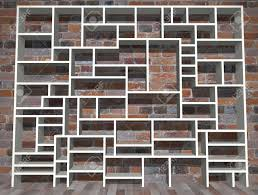 ilration of empty shelving unit against a brick wall stock ilration 18576932