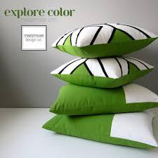 Modern Lime Green Outdoor Pillow Cover Black & White