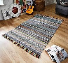 striped charcoal grey multi colour cotton kilim handwoven rug runner cushion