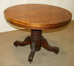 image of round reclaimed wood dining table oak