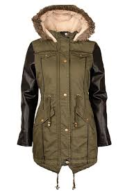 womens plus size pu sleeve fur hooded khaki parka jackets 14 18 khaki 14 about this picture 1 of 5 picture 2 of 5