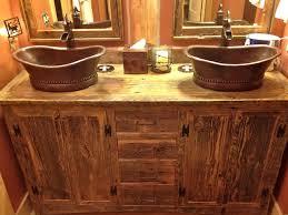rustic double sink bathroom vanities. Wonderful Rustic Vessel Rustic Double Sink Bathroom Vanity Under Two Framed Mirrors In  Orange Painted Wall With Vanities K