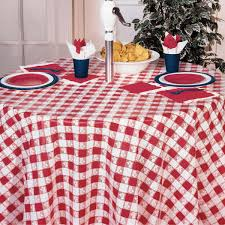 gingham plastic tablecover 82 octy round red