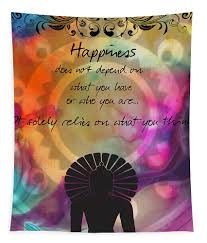 Zen Art Inspirational Buddha Quotes Happiness Tapestry