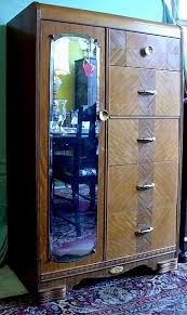 vintage antique furniture wardrobe walnut armoire. This Vintage Art Deco Walnut Chest Has A Water Falls Front With Long Side Mirror And Clothes Closet To The Left. It Is Of Canadian Manufacture Dates Antique Furniture Wardrobe Armoire