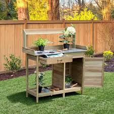 garden potting bench with drawer and