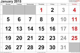 2015 Calendar Page Calendar January 2015 Landscape Orientation Large Numerals 1 Page