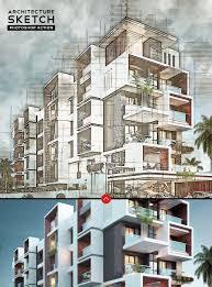 Architecture Design Photoshop Architecture Sketch Photoshop Action On Behance