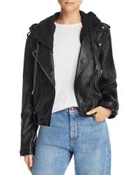 blank nyc black hooded faux leather moto jacket lyst view fullscreen
