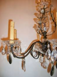 french bronze and crystal light fixture with smoke glass drops for