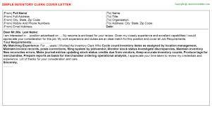 Inventory Clerk Job Cover Letter