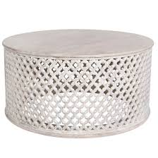 whitewashed wooden round coffee table