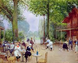 jean beraud painting the chalet du cycle in the bois de boulogne by jean beraud