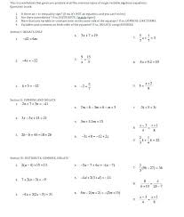 algebra 2 solving equations worksheet worksheets for all with variables one variable linear