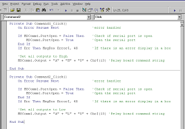 Visual Basic serial relay boards control software code