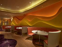 wall paint design for fast food restaurant with cool interior and recessed lighting ideas