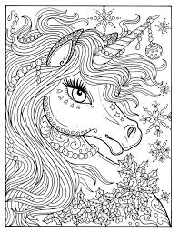 Unicorn Christmas Coloring Page Adult Color Book Art Fantasy Digital