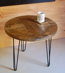 reclaimed wood round pattern end table with hairpin legs home hd wallpapers