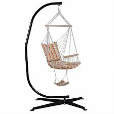 details about steel c frame porch hammock swing chair stand free standing indoor outdoor hook