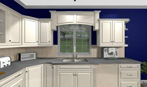 Wood Valance Over Sink And Blue Walls For The Home Kitchen